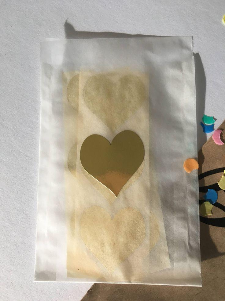 Hart [sluit] sticker | Goud Metallic of Zwart | 35 mm | 12 stuks perr set/kleur door PaperCandyNL op Etsy