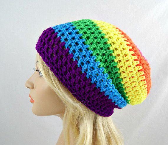 Rainbow Slouchy Beanie Womens Neon Crochet Slouch Hat Pink