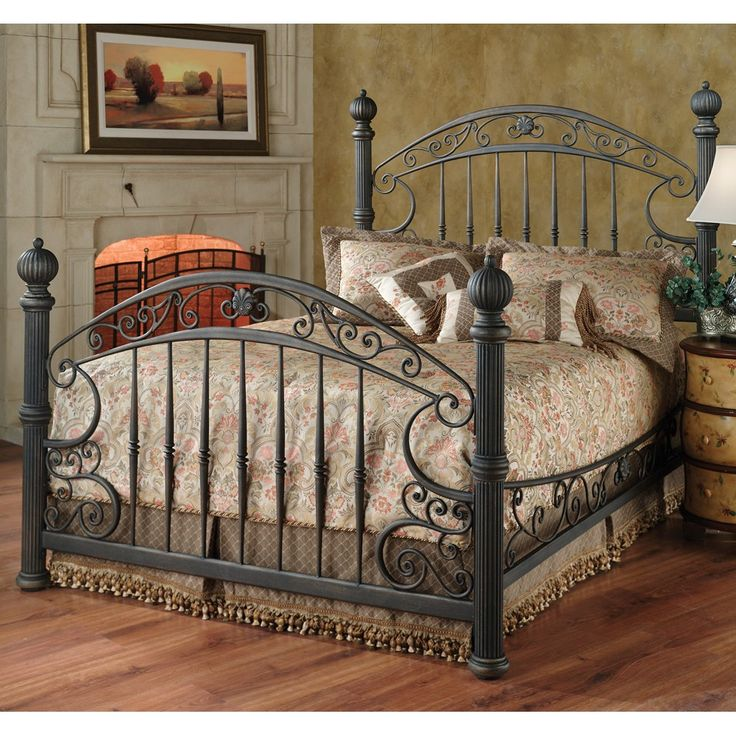 Chesapeake Iron Bed in Rustic Old Brown by Hillsdale Furniture | Humble Abode