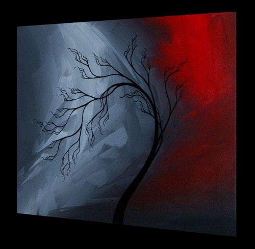 Original Tree Painting Abstract Landscape - Fire and Ice by Jaime BestFine Art Painting, Abstract Landscape