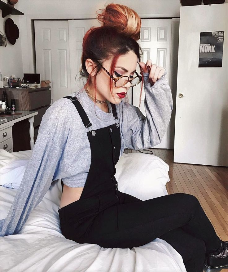 Glasses with chain necklace, grey sweater & black overalls by luanna90