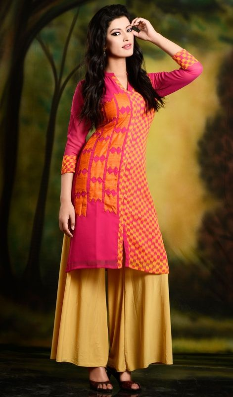 Stylish shirt style printed hot pink georgette kurta top with patch work done by hand. This shirt has hand applique work on the half side and other half side is printed material. Can be teamed with skinny jeans, straight pants or palazzo for casual chic look. #ExclusiveTrendsetterTunic