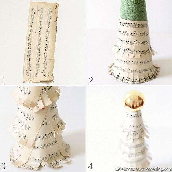 DIY: sheet music christmas tree