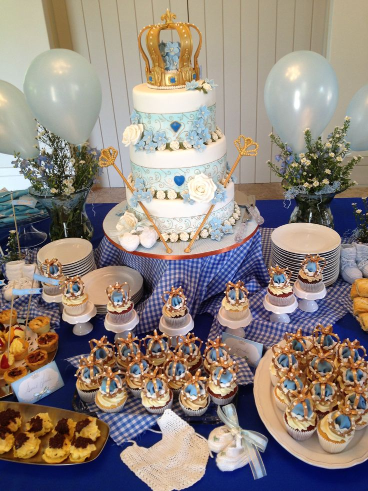 boy blue white gold babyshower cake cupcakes regal royal