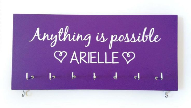 """Purple personalised """"Anything is possible"""" medal holder"""