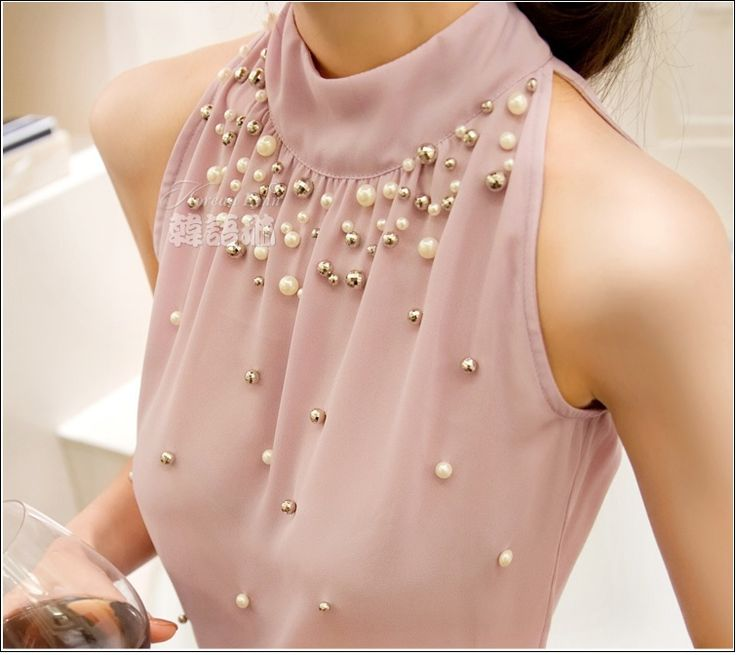 Find More Blouses & Shirts Information about 2015 New Women Beading Chiffon Blouse Korean Fashion Sleeveless Women Turtleneck Chiffon Blouse Shirt Women Top S M L XL835I 42,High Quality blouse vest,China shirt buttons men women Suppliers, Cheap shirt sticker from Annie zeng Store on Aliexpress.com