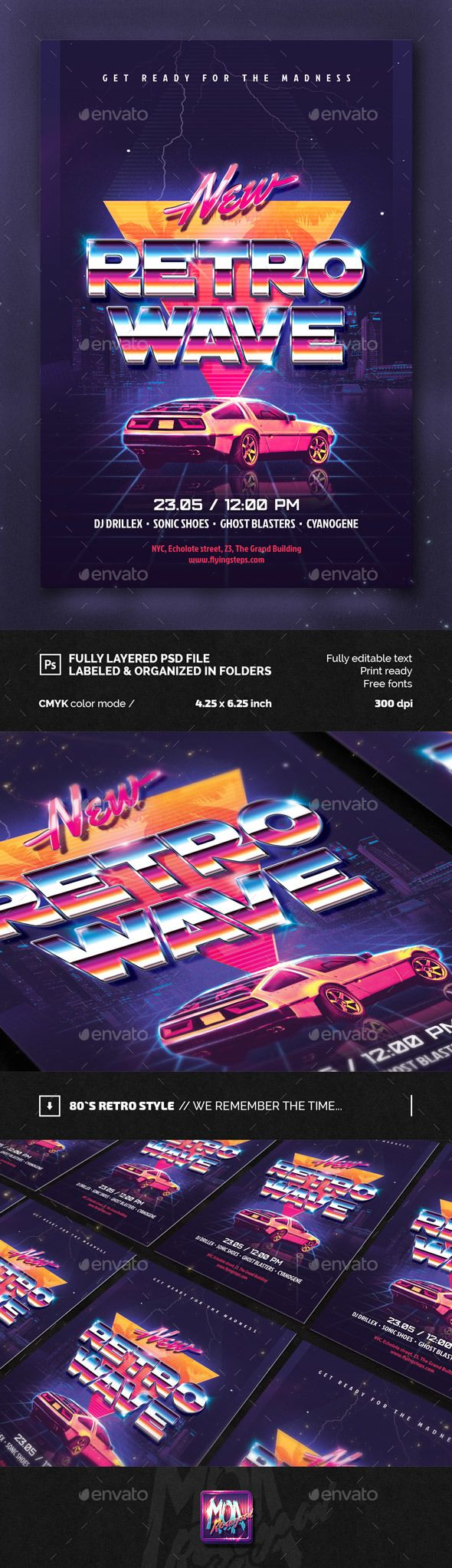 80`s New Retro Wave Party flyer  #back #car #dance • Available here → http://graphicriver.net/item/80s-new-retro-wave-party-flyer/15541670?ref=pxcr