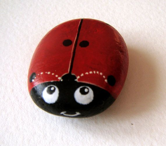 Hand painted rock magnet  Red ladybug by Stonesfantasies on Etsy, €9.00