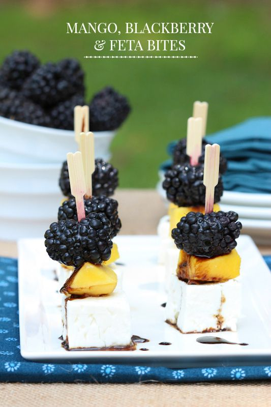 Mango, Blackberry and Feta Bites - a fresh and easy appetizer to serve at your next dinner party!