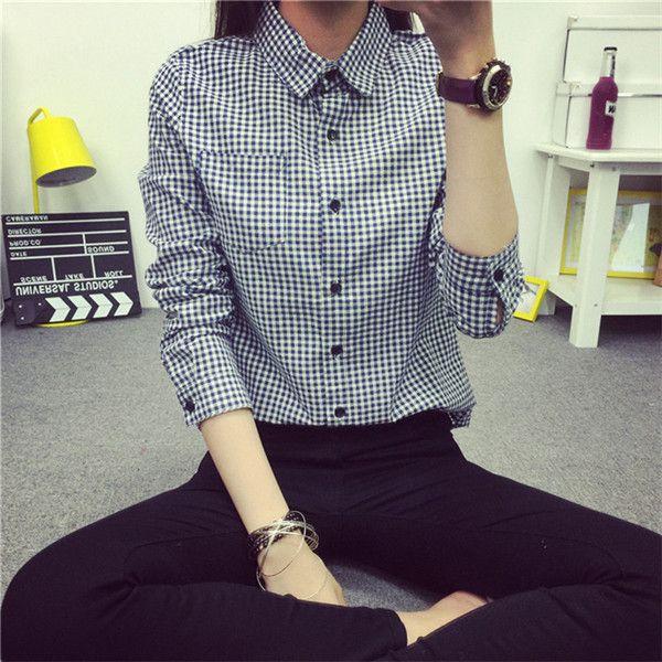 2015 NEW pequeno Plaid mulheres blusa lapela camisa Casual OL manga comprida camisas de algodão mulheres clássico grade camisas Tops Pluse tamanho em Blusas de Roupas e Acessórios no AliExpress.com | Alibaba Group