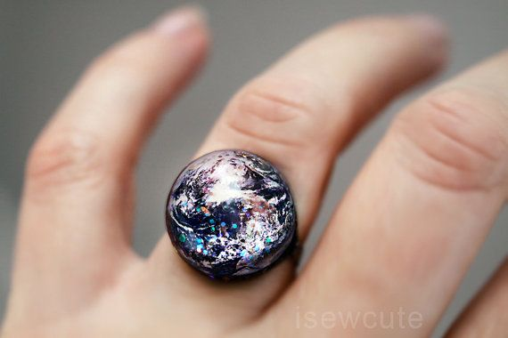 Earth Ring Space Jewelry Home Sweet Home Out of this by isewcute