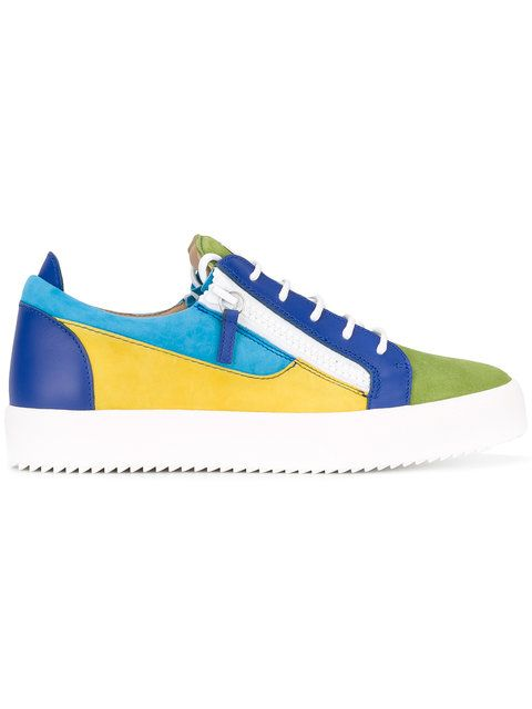 Shop Giuseppe Zanotti Design May London colour block low-top sneakers.