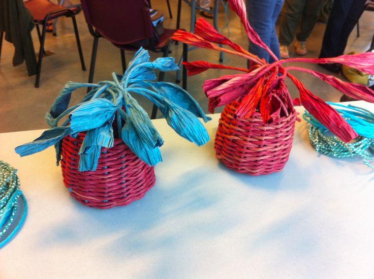 Peace Arch Weavers & Spinners Guild. Paper Core Basket Weaving Workshop, Sept. 2015