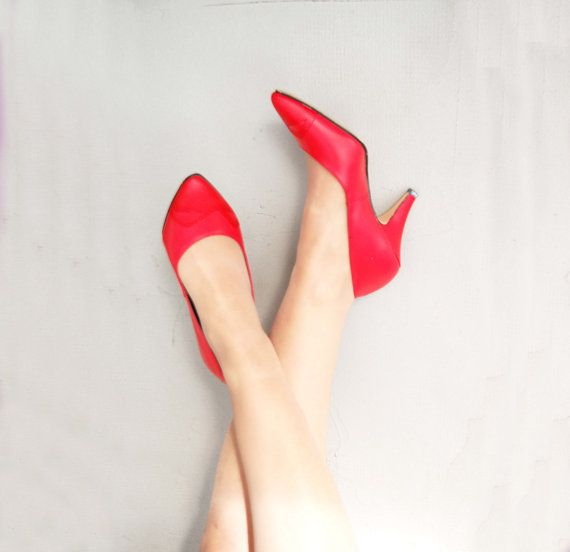 VINTAGE Rockabilly Stiletto shoes Real leather red di semivint