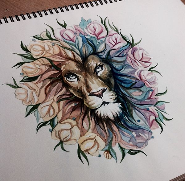 Lion | Watercolor. I like this concept for my Storm tattoo.