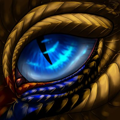 Looking into the dragon's glowing sapphire eye, she discovered swirling depths of wisdom and a vertical onyx slit that widened slightly when she reached up and scratched his eyelid . . .--EDK . . .