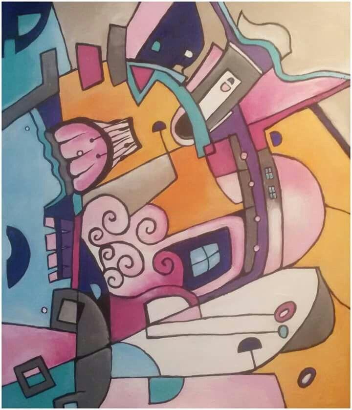 """Silvie Kreiselová """"Observatoř II.""""  Acryl 60x70."""
