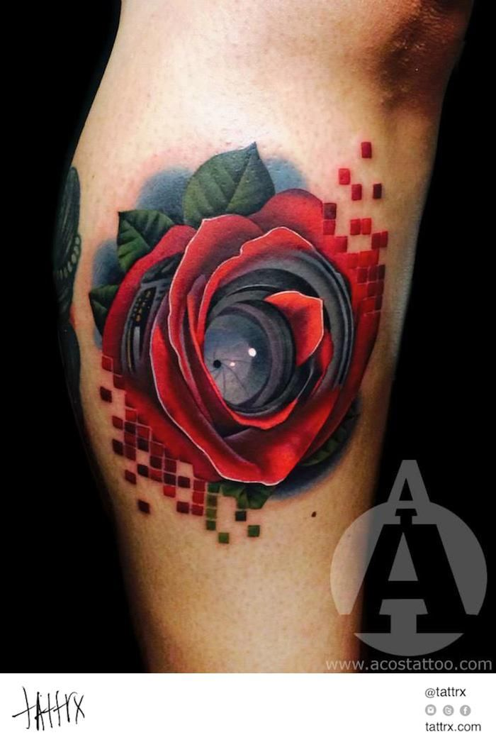 Andres Acosta Tattoo - Pixelated Camera Lens Rose  tattrx.com/artists/andres-acosta