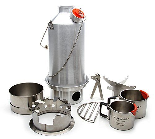 Aluminium 'Base Camp' Kelly Kettle (1.6ltr) - ULTIMATE KIT. (NOW WITH STAINLESS STEEL FIRE-BASE AS STANDARD) Camp cooking made easy. Boil Water Ultra Fast and Cook Food in the outdoors using the famous Kelly Kettle and the Hobo (wood) Stove accessory. Suitable for solo or group use. This Ultimate Kit includes: 1.6 Ltr Alu. Kettle + Cook Set + Pot-Support + Hobo Stove + high quality Cup Set (all Stainless steel) + Carry Bag. This Kettle now comes with an upgraded Stainless Steel Fire-base as…