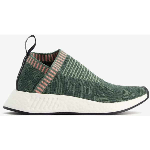 Adidas Adidas Primeknit Nmd Sneakers ($134) ❤ liked on Polyvore featuring shoes, sneakers, green, rubber sole sneakers, adjustable shoes, adidas shoes, white sole shoes and green shoes