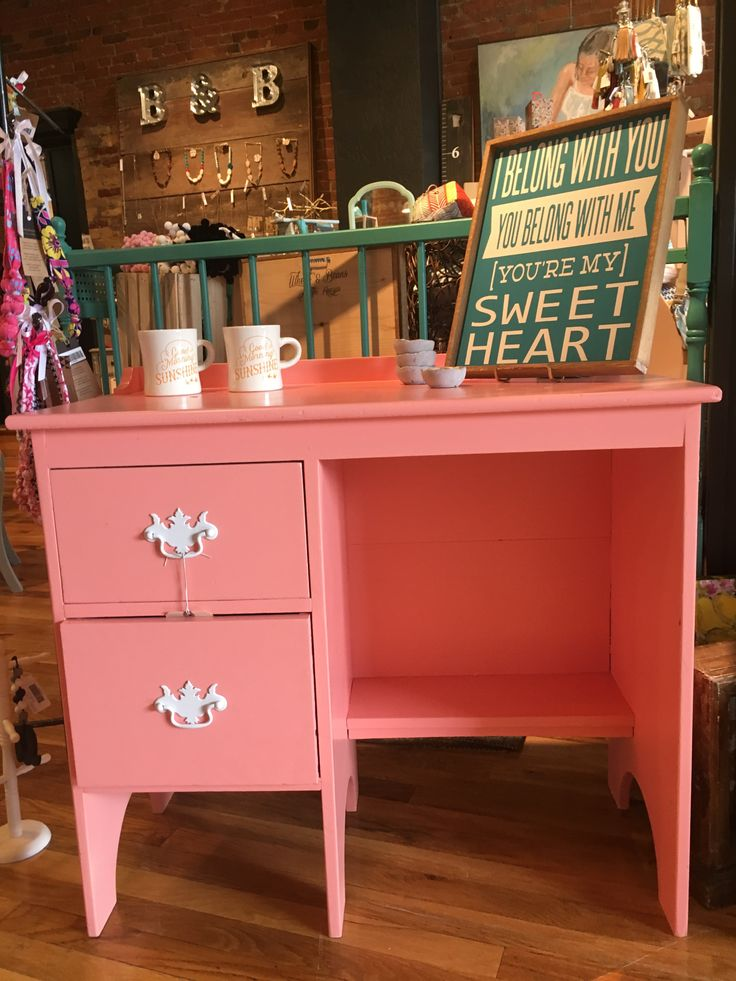 Desk Painted With Sherwin Williams Coral Bead