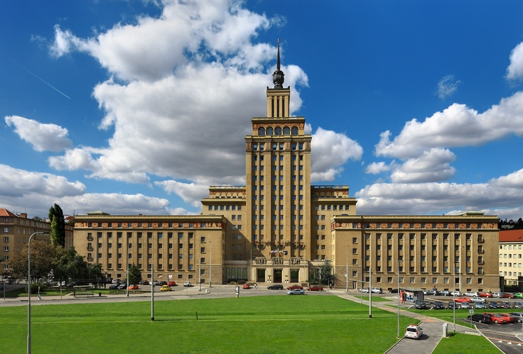 The front view of the Crowne Plaza Prague. Unusual design reflects the time of construction - early 1950s.