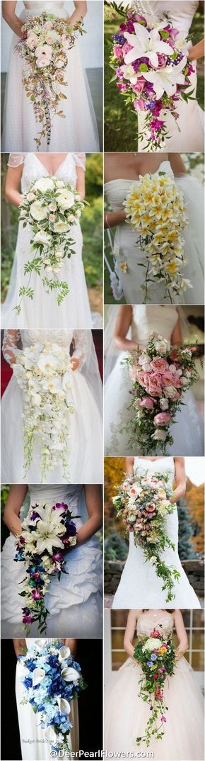wedding flowers & wedding bouquets / http://www.deerpearlflowers.com/cascading-wedding-bouquets/