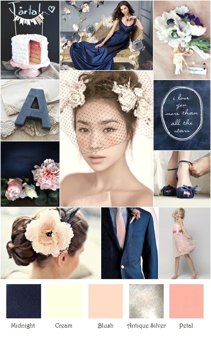 Navy Blue and Blush Wedding | Navy Blush Cream Gray Silver Rustic Inspiration Board