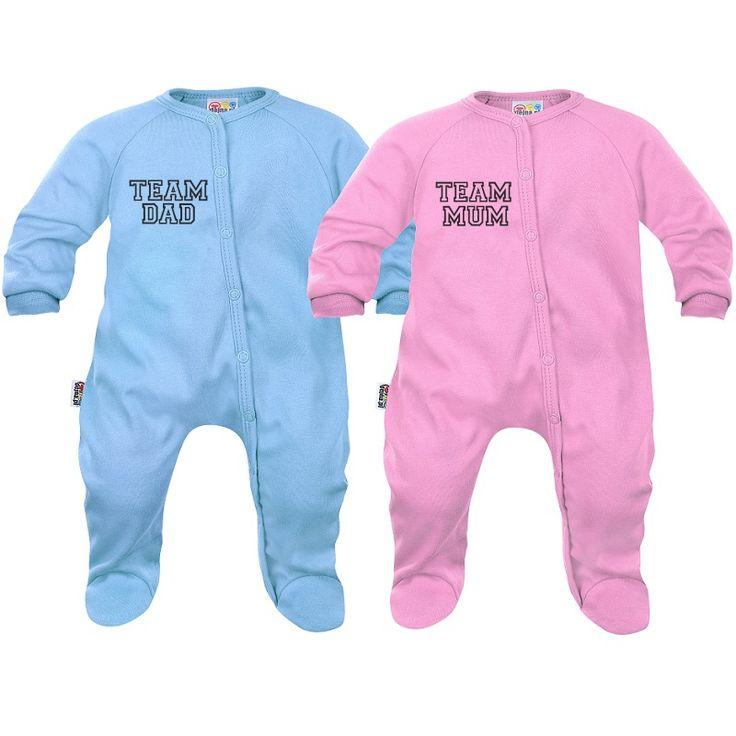 2x pyjama bébé jumeaux / jumelles : team mum / team dad - SiMedio