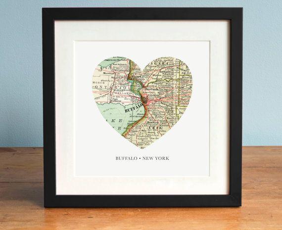 Buffalo NY Map, Heart Map, Buffalo Map Art, Map of Buffalo, New York Art, Valentines Day Gift, Personalized Map Art