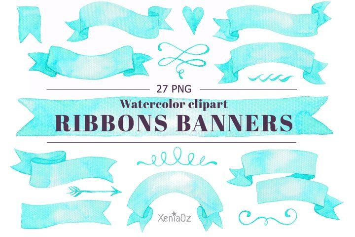 Watercolor Blue Banners Ribbons Clipart Design Element Png 727269 Elements Design Bundles In 2021 Clip Art Ribbon Clipart Blue Banner