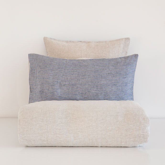 TWO-TONE STRIPED DYED-THREAD LINEN BEDDING