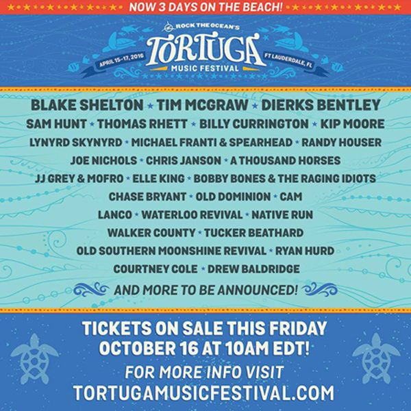 Tim McGraw, Dierks Bentley Join Blake Shelton As Headliners Of 2016 Tortuga Music Festival's Star-Studded Country Music Lineup
