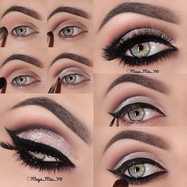 Prueba a realizar un estilo de ojos ahumados paso a paso pero añadiendo color. Maquillaje de fiesta con delineado impactante