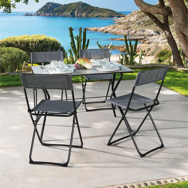 Outdoor Lafuma Batyline Anytime 5 Piece Rectangle Folding Patio Table and Chair Set - LAF097