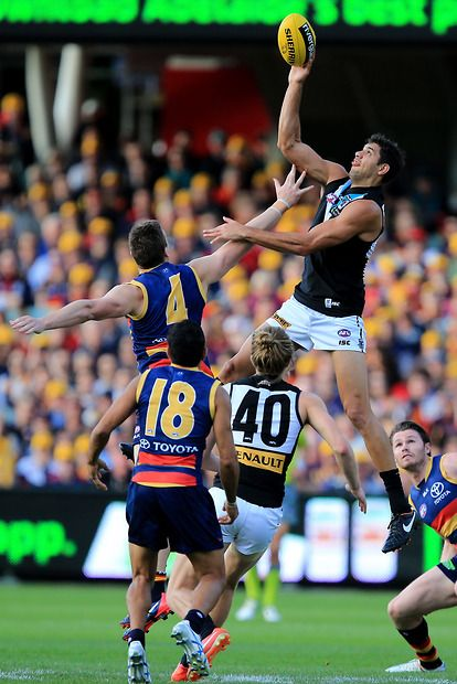 Patrick Ryder of the Power competes with Josh Jenkins of the Crows during the 2015 AFL Round 05 match between the Adelaide Crows and Port Adelaide Power at Adelaide Oval, Adelaide on May 03, 2015. (Photo: James Elsby/AFL Media)