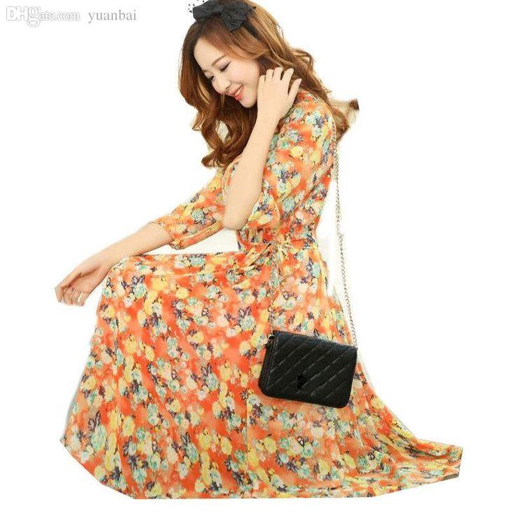 Romantic, feminine, lovely (Wholesale 2015 Vintage Chiffon Maxi Long Dresses Fashion Summer Women'S Clothing Vestidos Tropical Print Dress Women Dress Casual Floral Dresses For Fall Sale Black Dresses From Yuanbai, $24.03  Dhgate.Com)