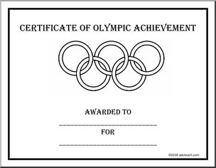 "Certificate: Olympics (b/w) - ""Certificate of Olympic Achievement awarded to __ for __."" With the Olympic rings in outline."