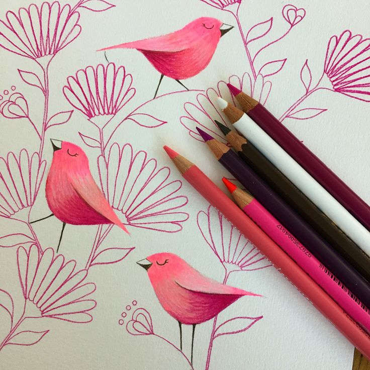 Pink birds and flower by Deb Hudson. Coloured pencil drawing