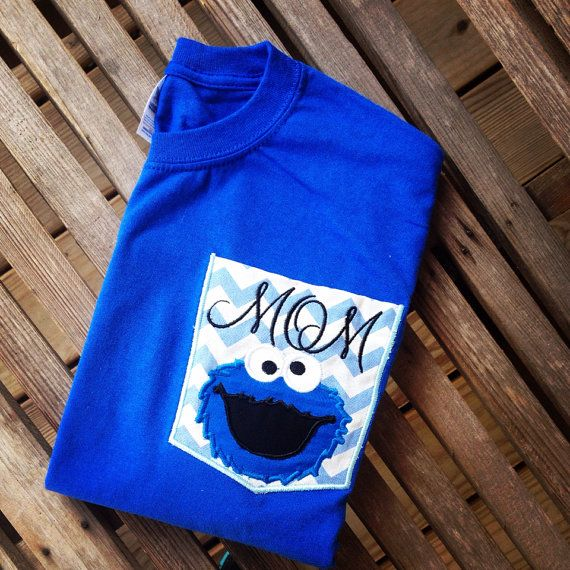 Elmo mom dad birthday chevron pocket shirt by southernfriedstiches