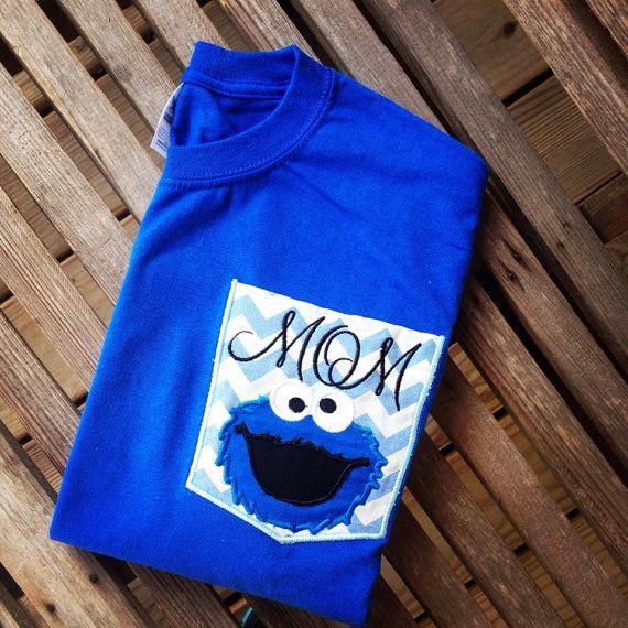 Elmo mom dad birthday chevron pocket shirt by southernfriedstiches