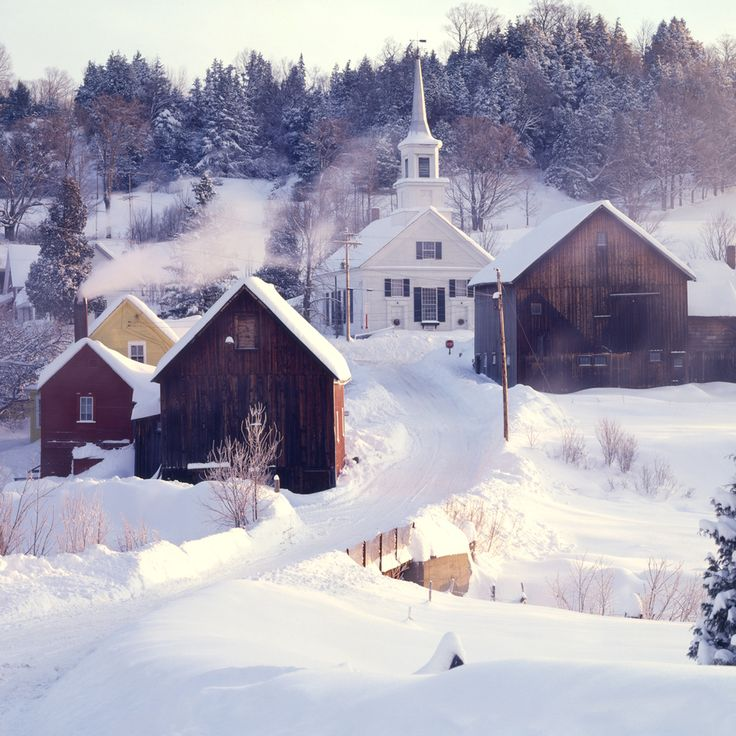 Waits River, Vermont, VT. New England, church, country, winter, snow, rural, town, village, USA