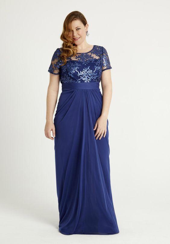 Resultado de imagen para vestidos largos para gorditas azul