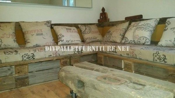 Rustic corner sofa built with pallets