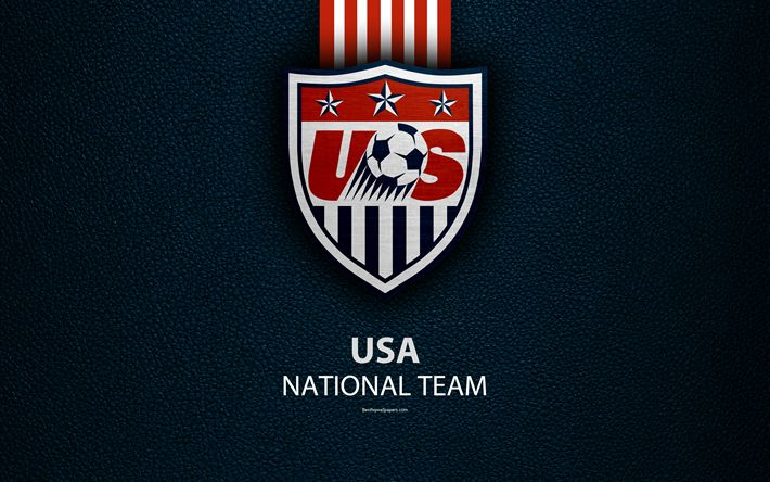 Download wallpapers United States national football team, 4k, leather texture, North America, USMNT, logo, emblem, USA, football, USA national soccer team
