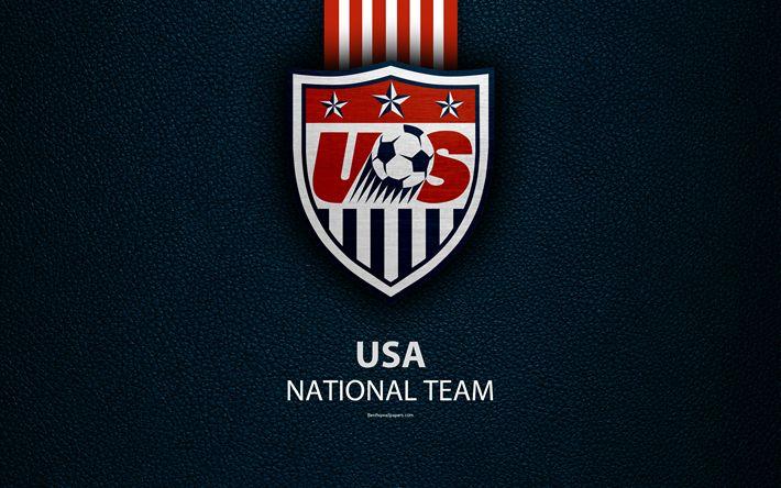 تحميل خلفيات الولايات المتحدة الأمريكية فريق كرة القدم الوطني, 4k, جلدية الملمس, أمريكا الشمالية, USMNT, شعار, الولايات المتحدة الأمريكية, كرة القدم