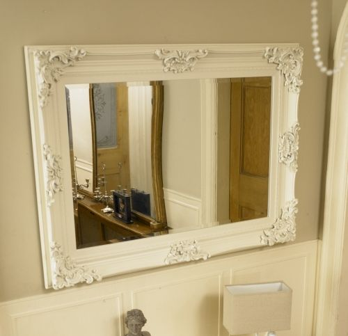 Permalink To Charming White Large Framed Mirrors For Bathrooms Image Ideas In Bathroom Mirror