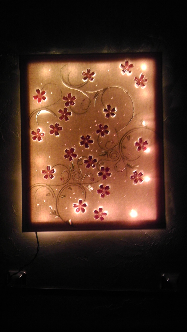 buy a canvas and a stencil you like. also stencil paint and a fine pointed knife. trace your stencil on the canvas, cut around some of the stencil. paint the canvas, and then i stapled a set of xmas lights to the back of the canvas. looks very neat in my bathroom:)