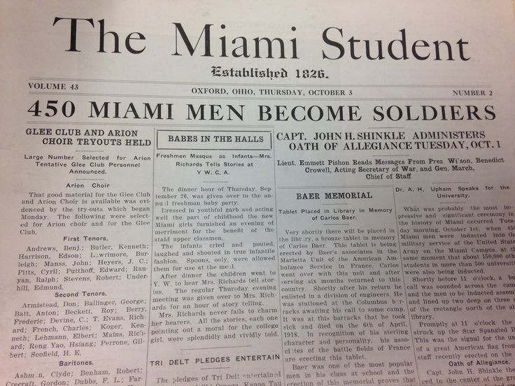 """Induction of 450 Miami students into the military service of the US Army. Article in the Miami Student called it, """"the most impressive and significant ceremony in the history of Miami"""". Late in the war, 150,000 American college students were inducted into the Army on the same day. Speaks to the level of commitment to the war effort of American universities in general, and Miami specifically. #MUArchives , Box: WWI Files"""