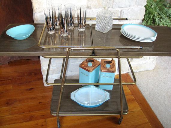 Vintage Cosco Buffet Cart Metal Serving Rolling Kitchen